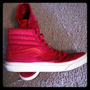 Vans solid red hi top shoes sz 11 men